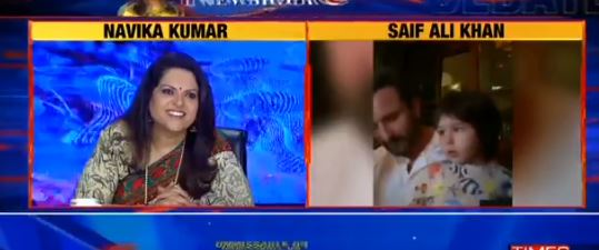 Taimur abrupt debut in Saif ali khan's live interview, watch video