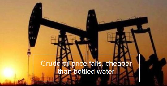 Crude oil price falls, cheaper than bottled water