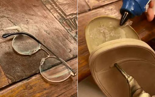 Watch Twinkle Khanna's slippers and glasses broken in lockdown, She is seen repairing them in video