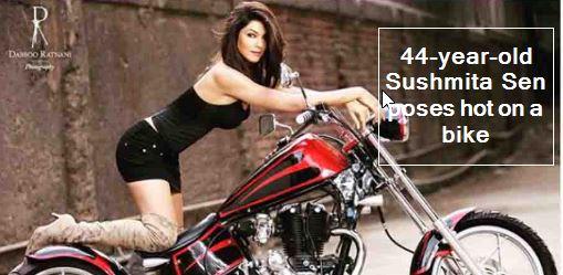 44-year-old Sushmita Sen poses hot on a bike