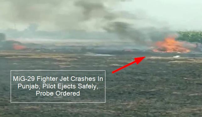 MiG-29 Fighter Jet Crashes In Punjab, Pilot Ejects Safely, Probe Ordered