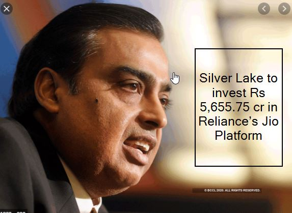 Silver Lake to invest Rs 5,655.75 cr in Reliance's Jio Platform