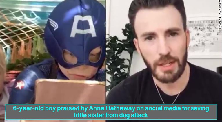 6-year-old boy praised by Anne Hathaway on social media for saving little sister from dog attack
