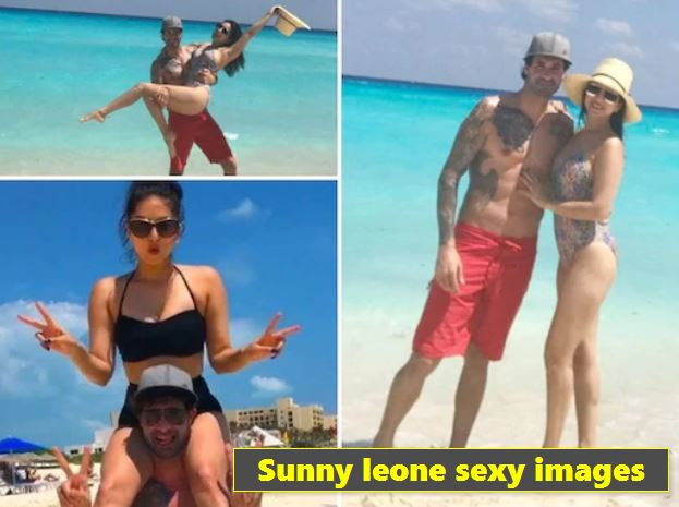Bollywood actress Sunny Leone is seen having fun at the beach with her husband Daniel Weber and daughter Nisha.