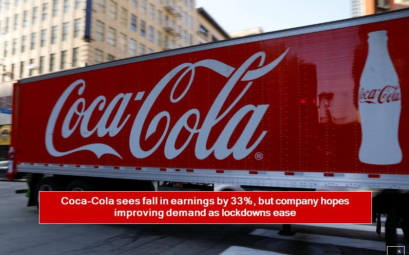 Coca-Cola sees fall in earnings by 33%, but company hopes improving demand as lockdowns ease