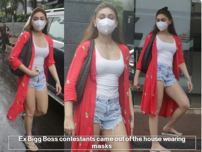 Ex Bigg Boss contestants came out of the house wearing masks sexy hot images shefali jariwala