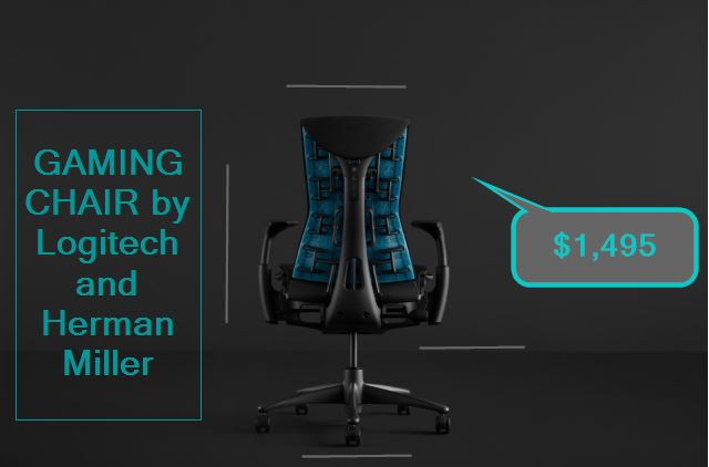 Logitech and Herman Miller made a $1,495 THE EMBODY GAMING CHAIR, See photos