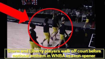 Storm and Liberty players walk off court before national anthem in WNBA season opener