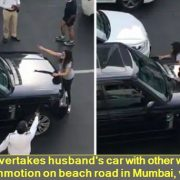 Wife overtakes husband's car with other woman, commotion on beach road in Mumbai, viral
