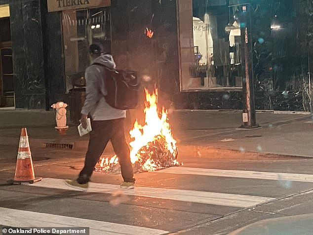 Scenes from Oakland last night, where a group of 700
