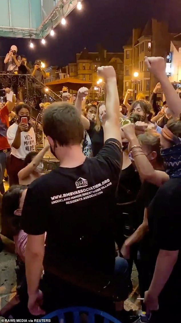 A large crowd of Black Lives Matter protesters accosted white diners outside several Washington, D.C. restaurants on Monday night, demanding that they raise their fists to show solidarity with the movement