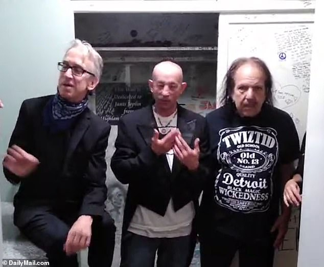 Andy Dick (left) has been seen on video obtained by DailyMail.com marrying two of his friends in a bizarre ceremony with Ron Jeremy (right) as the