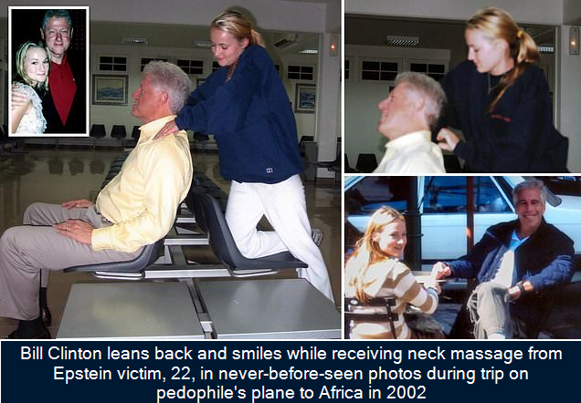 Bill Clinton leans back and smiles while receiving neck massage from Epstein victim, 22, in never-before-seen photos during trip on pedophile's plane to Africa in 2002