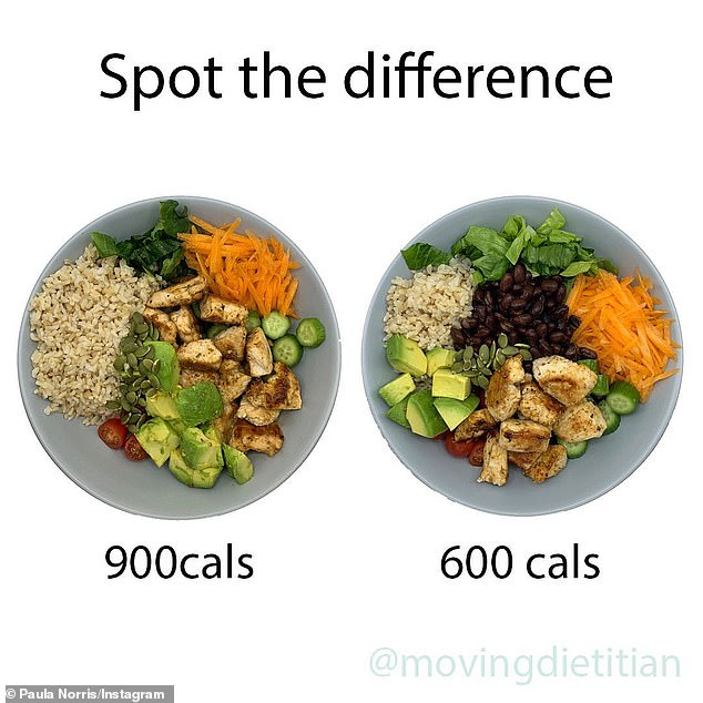 A dietitian has illustrated how the calories in your meals can vary by huge amounts without you even noticing (pictured: two different versions of Paula