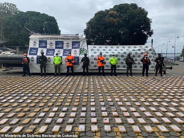 The Colombian National Police and Armed Forces intercepted a ship Sunday off the coast of the port of the city of Tumaco and seized $18million worth of cocaine that had been purchased by Mexico