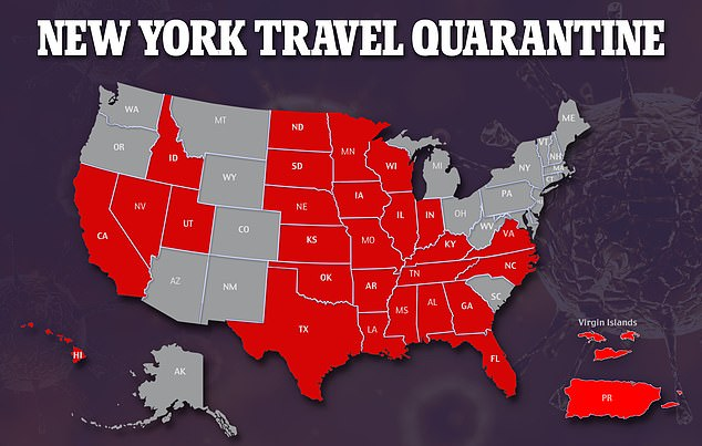 There are 28 states now on the mandatory quarantine list, as well as Guam, Puerto Rico and the Virgin Islands