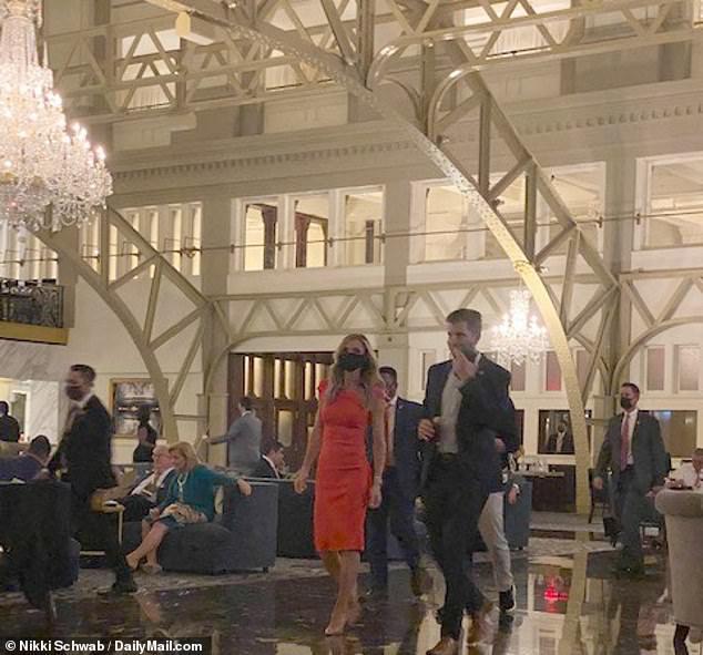 Lara Trump and Eric Trump in the Trump International Hotel on Wednesday evening