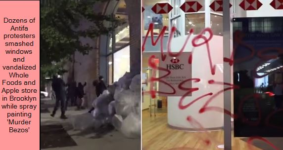 Dozens of Antifa protesters smashed windows and vandalized Whole Foods and Apple store in Brooklyn while spray painting 'Murder Bezos'