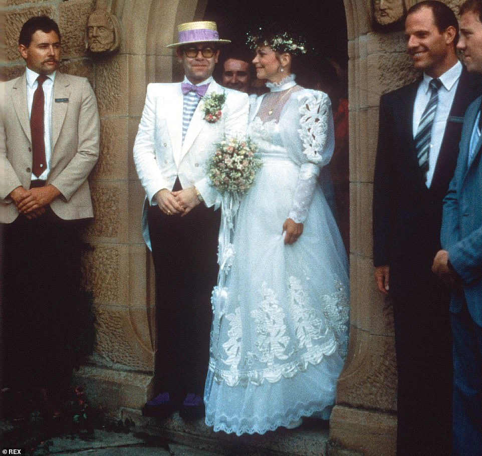 Renate Blauel, pictured on her wedding day to Sir Elton John in Australia in 1984, is now suing the pop star for £3million