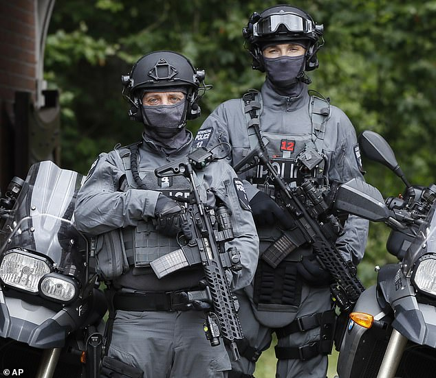 At risk? Police counter-terrorism officers (pictured in London in 2016) are increasingly using the lightweight polyethylene chest plates