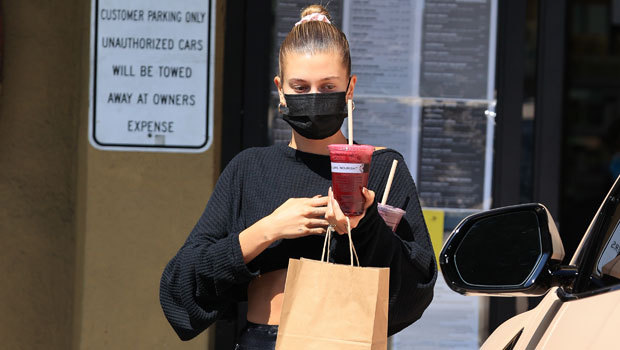 Hailey Baldwin Perfects The Cycling Shorts Trend With Matching Crop Top As She Grabs Juice