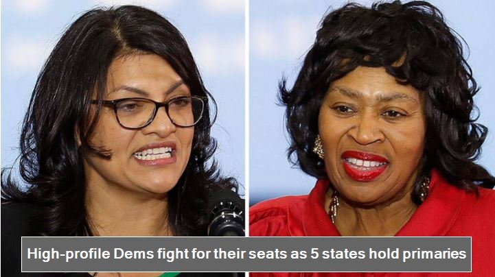 High-profile Dems fight for their seats as 5 states hold primaries