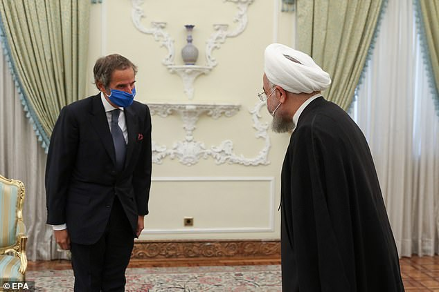 Iranian President Hassan Rouhani (right) meeting with Director General of the International Atomic Energy Agency (IAEA) Rafael Mariano Grossi in Tehran on Wednesday