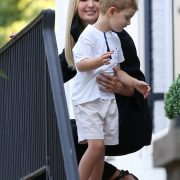Off to work: Ivanka Trump shared a sweet goodbye with your four-year-old son Theodore as she left her Washington, D.C. home on Wednesday morning