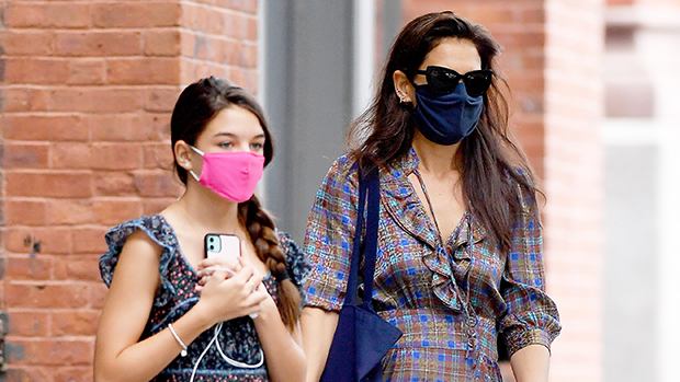 Katie Holmes & Mini Me Daughter Suri Cruise, 14, Step Out For NYC Stroll In Blue Summer Dresses