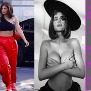 Kylie Jenner wears crop top and red pants after photo shoot