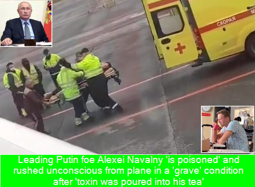 Leading Putin foe Alexei Navalny 'is poisoned' and rushed unconscious from plane in a 'grave' condition after 'toxin was poured into his tea'