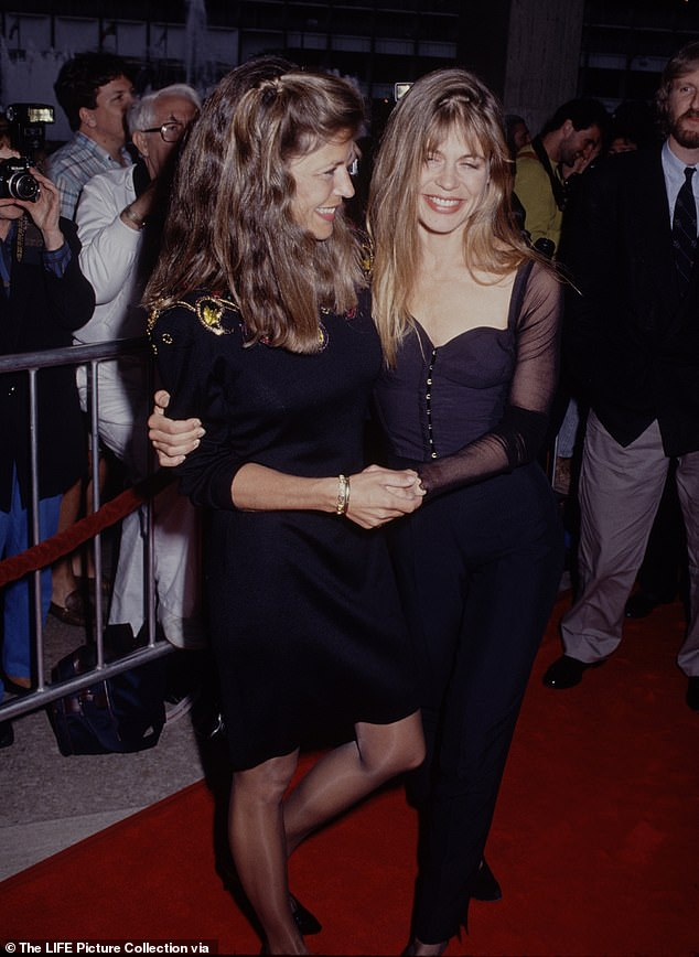Gone but not forgotten:Linda Hamilton is mourning the loss of her twin sister Leslie H. Freas, who died last Saturday; seen with Leslie (left) at the 1991premiere of Terminator 2 in LA