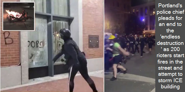 Portland's police chief pleads for an end to the 'endless destruction' as 200 rioters start fires in the street and attempt to storm ICE building