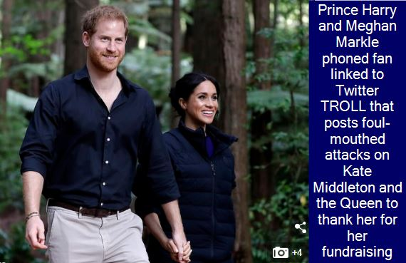 Prince Harry and Meghan Markle phoned fan linked to Twitter TROLL that posts foul-mouthed attacks on Kate Middleton and the Queen to thank her for her fundraising