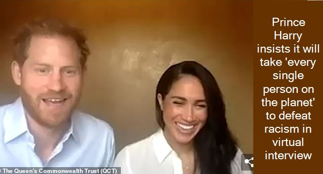 Prince Harry insists it will take 'every single person on the planet' to defeat racism in virtual interview