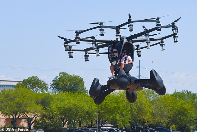 LIFT CEO Matt Chasen pilots Hexa over Camp Mabry on August 20. The prototypeelectric vertical takeoff and landing (eVTOL) craft uses 18 independent rotors and is controlled by a three-axis joystick