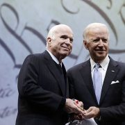 100 ex-staffers of the late Republican Sen. John McCain (left) endorsed Democrat Joe Biden (right) in the run-up to President Donald Trump accepting his party