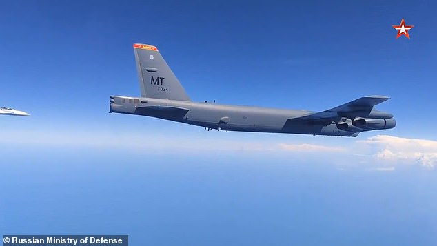 Video released by the Russian Ministry of Defense shows an American B-52 bomber being intercepted over the Black Sea on Friday morning