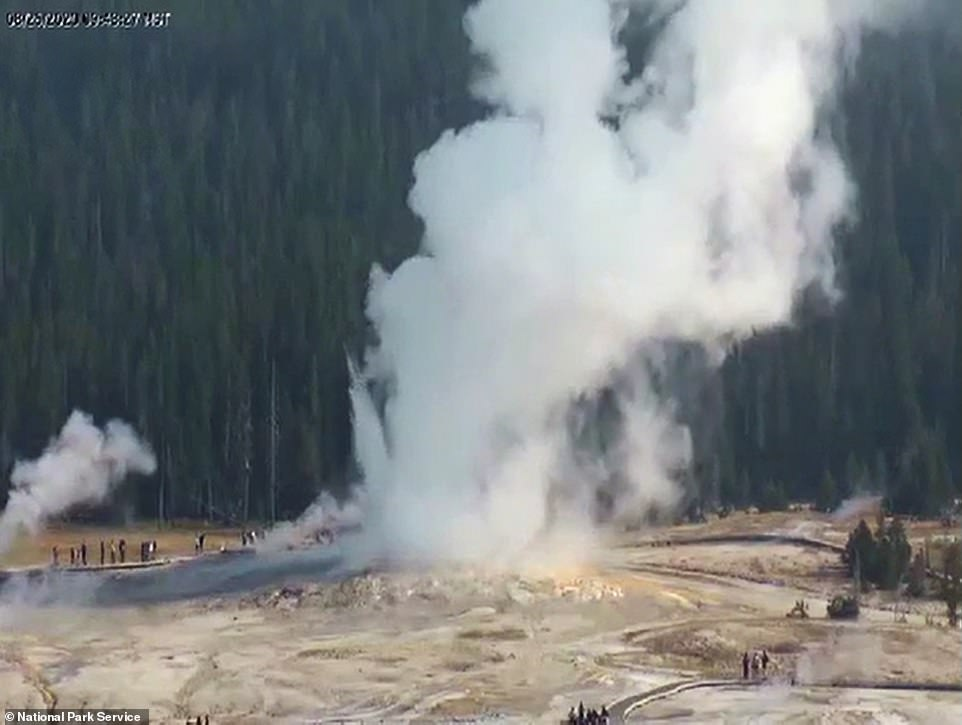 The Giantess geyser erupted on Tuesday for the first time in six years, to the delight of visitors to the park