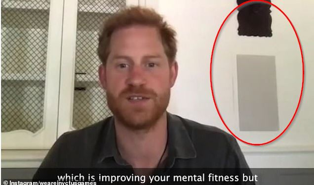 spot 'paint swatches' on the wall behind Prince Harry in latest video from his and Meghan Markle