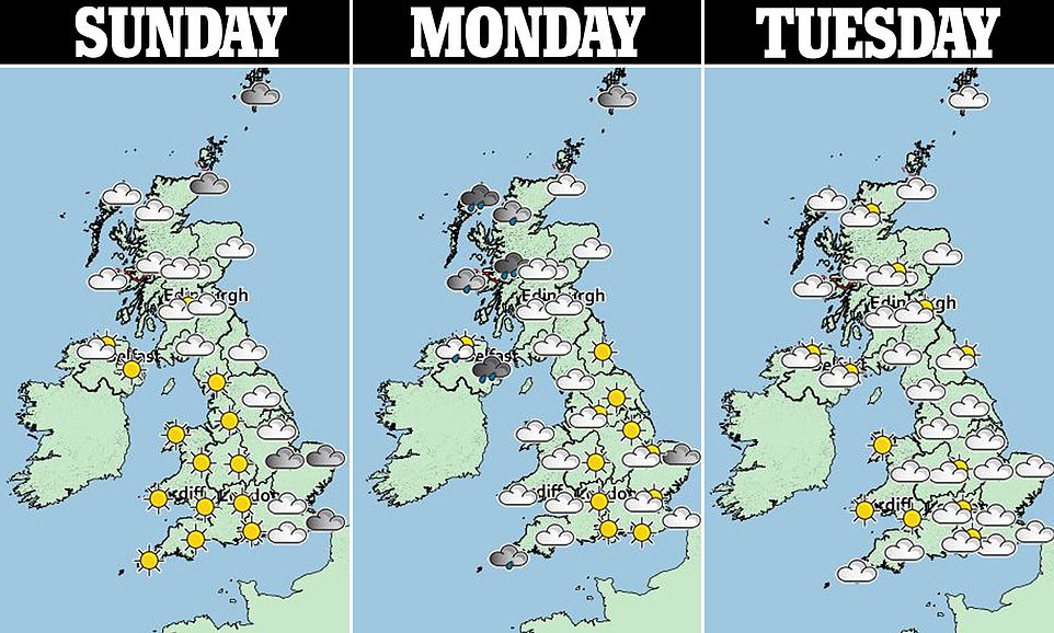 Temperatures are set to rise into the high teens on Monday and Tuesday this coming week, with forecasters suggesting areas in the south east will experience highs or 19C, but thecoming weeks look quite cool and temperatures are below average for the time of year, The Met Office revealed