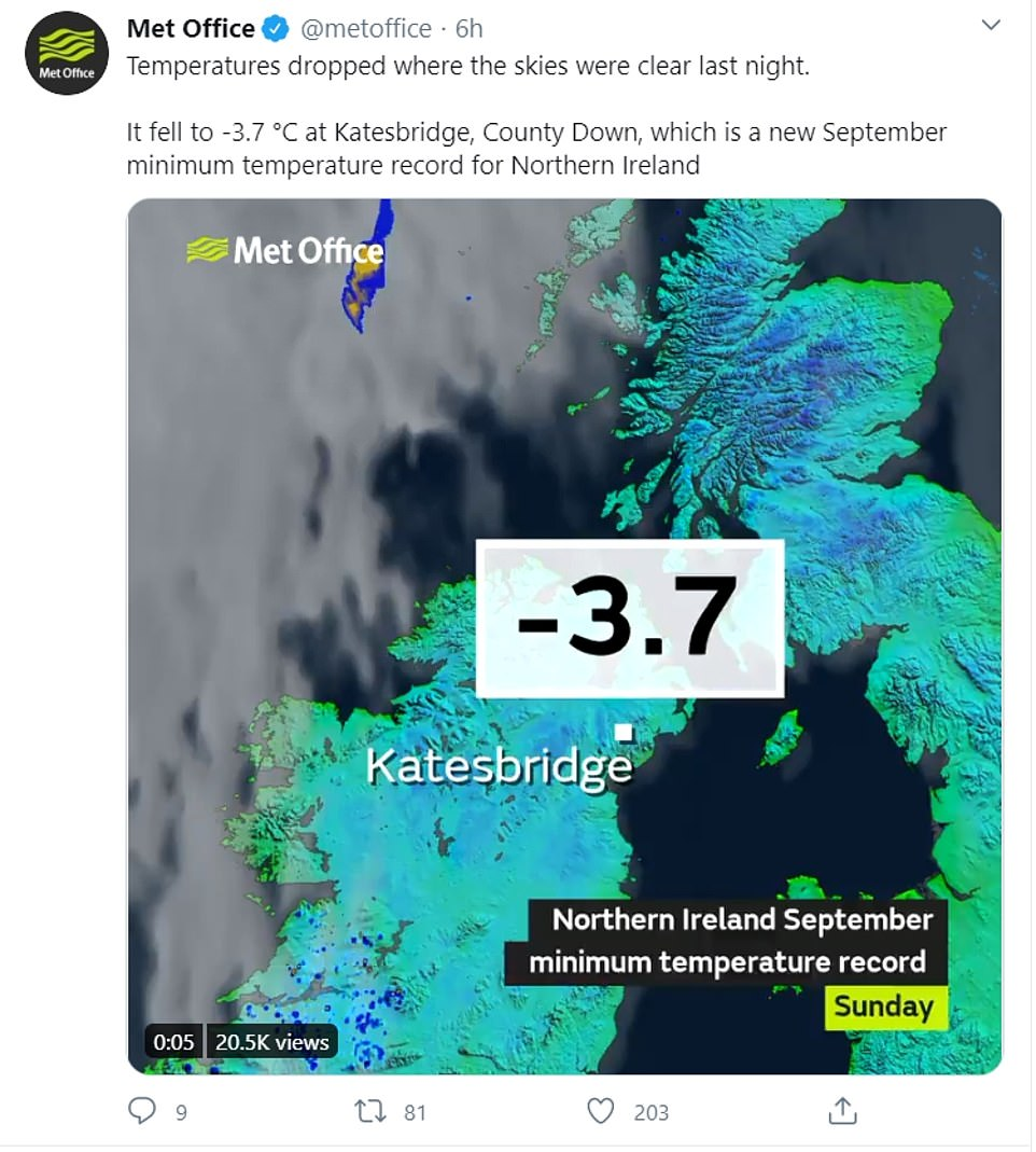 The village of Katesbridge, in Northern Ireland's County Down, fell to a teeth-gritting -3.7C - a new September minimum temperature record for Northern Ireland, the Met Office confirmed in a tweet