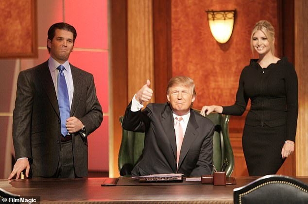 A nearly $100,000 payment to daughter Ivanka's favorite hair and makeup stylist was also listed as a business expense. Trump is pictured with Ivanka and son Don Jr.