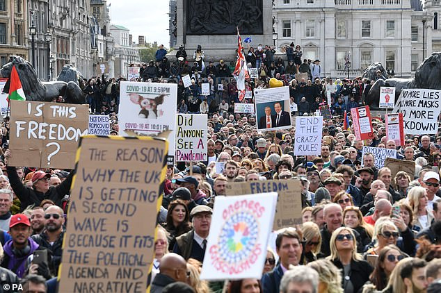 'Ridiculous!' At least 15,000 protesters descended on Trafalgar Square and Hyde Park in London as part of an anti-lockdown demonstration on Saturday