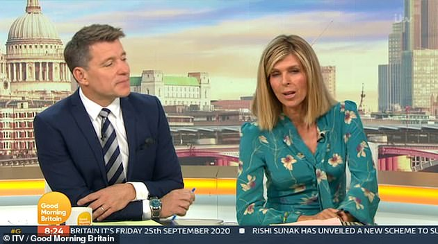 Strong: On Friday's GMB, she turned to co-host Ben Shephard, 45, and said - 'Tough week with Derek. It has been a tough week'