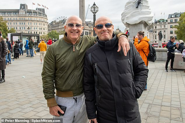 I'm Too sexy for .... A Mask: Fred and Richard Fairbrass of Right Said Fred were at the anti-lockdown demonstration in Trafalgar Square in London this weekend