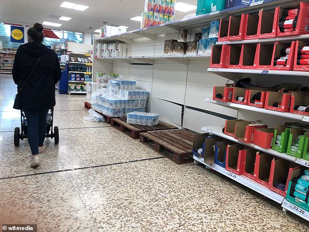 Pictures from a Tesco in west London show shoppers have emptied shelves this weekend despite study showing one in four items bought in bulk goes to waste as warning to stockpilers