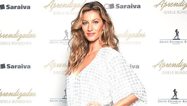 Gisele Rocks Daisy Dukes, Tom Brady's Bucs Jersey, & Arm Sling As She Watches His Game From Home