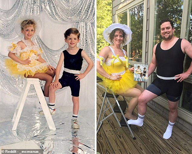 A twin brother and sister, from the US, remade what they call their 'most embarrassing photo' 26 years on, donning the same impressive outfits as they did when the original was taken