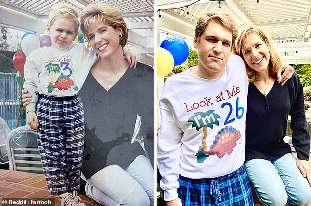 To surprise his mother for Mother's Day, this man recreated her favourite picture of them together and committed so much to his art that he used photoshop to recreate his jumper 23 years on